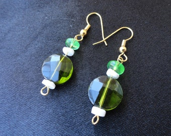 Simple, Elegant Emerald Glass and White Shell Dangle Earrings