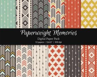 "Digital patterned paper - Tribal Tones -  digital scrapbooking - patterned paper - 12x12"" 300dpi  - Commercial Use"