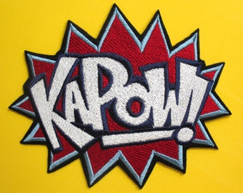 Large Embroidered KAPOW Iron On Patch, Applique, Crafts and Decor, Super Hero Patch
