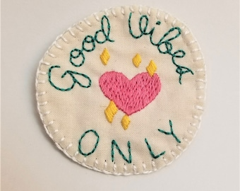 Good Vibes Only Heart with Sparkles Merit Badge Patch or Pin, Flair