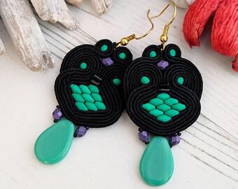 Black Green Soutache Earrings-Retro Boho Earrings-Beaded Dangle Earrings-Black Statement Earrings