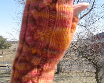 Fingerless Texting Cabled Gloves made with Hand Dyed Alpaca Yarn, Mother's Day Gift