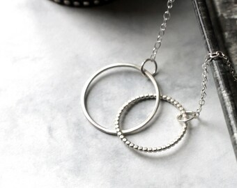Linked Circle Necklace - Sterling Silver | Valentine's Gift | birthday gift | simple necklace | layering necklace | | mother's day