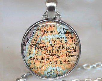 New York map necklace, Manhattan map pendant, Brooklyn Bronx map Queens map, travel map, map jewelry key chain key ring key fob