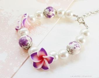 Bracelet femme, bracelet romantique, bracelet exotique tipanié mauve, cadeau noel, cadeau original, fait main, bracelet cablé 17.5 cm, tiaré