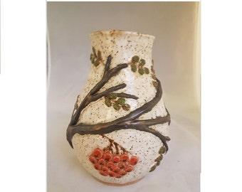 Ceramic rowan berries white speckled vase unique hand made