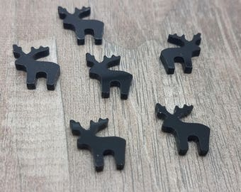 12mm Black Reindeer Laser Cut Acrylic Cabochons - 10 Pcs