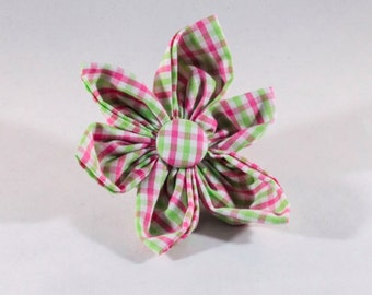 Preppy Pink and Green Gingham Girl Dog Flower Bow Tie