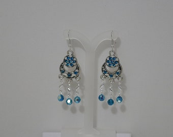 Swarovski Crystal Chandelier Earrings - MADE TO ORDER in Any Color - Shown in Blue Zircon