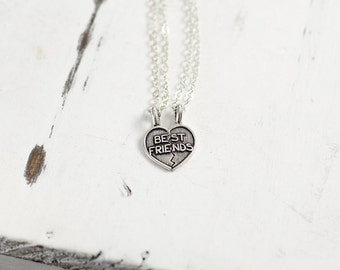 Best Friends Necklace Set | Sterling Silver Heart Necklaces