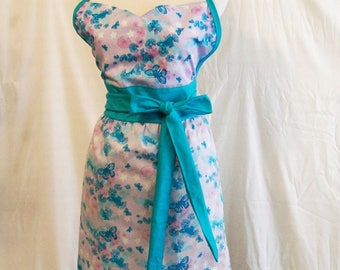 Handmade Woman's Butterflies Floral Aqua Sweetheart Full Apron, Kitchen Serving Apron, Gift for Mom, Made in the USA,  #29A