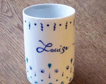 Cup Louise - handpainted - blue and turquoise