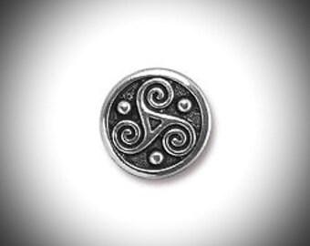 Triskelion Lapel Pin Celtic Boutonniere Silver Triskele Tie Tack, Groomsmen Gift Celtic Jewelry Outlander Voyager Lapel Pin