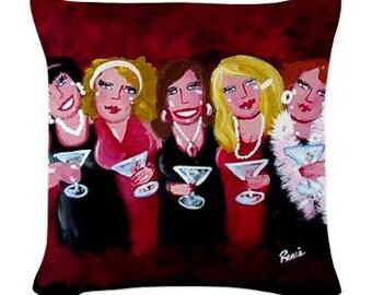Happy Hour Martini Divas Fun Folk Art Pillow - Woven Throw Pillow Whimsical Art by Renie Britenbucher