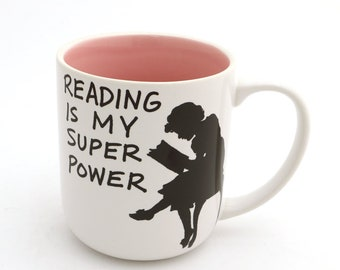 Reading is my Superpower mug , Great gift for Book Lover PINK