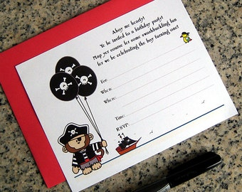 monkey pirate lined birthday costume halloween party customized invitations with red envelopes DIY - set of 10