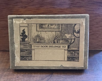 Beautiful Vintage Book Plates in Original Box with Original Christmas Gift Tag