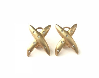 Vintage Smooth Matte Gold Plated X Rhinestone Encrusted Earrings