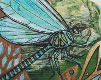 Dragonfly Cross Stitch, Lynnette Shelley Art,  Counted Cross Stitch Kit, Modern Cross Stitch, Insect Art, Green Dragonfly, 'Dragin Flight'