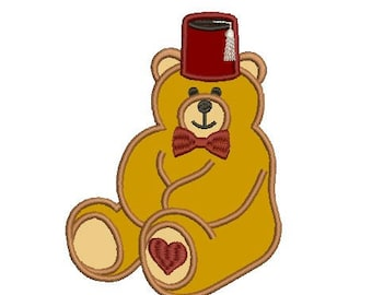 Shriner bear applique embroidery design