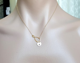 Personalized Infinity with Initial Disk 9mm Necklace in Gold Filled. Engraved monogram disk, cute, simple look, everyday wear, perfect gift