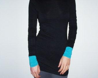 Elegant Long sleeved Women's T-shirt/Fitted Black Top/Designer's Women's Tee/Long Sleeve Black Women's Blouse
