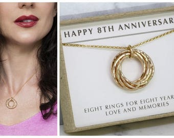 8th anniversary, meaningful gift for wife, 8 year anniversary necklace for her, handmade gift for her, girlfriend - Lilia