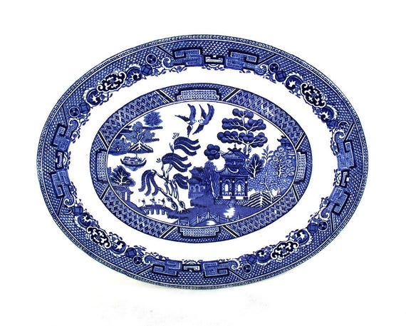 Large Oval Willow Pattern Plate