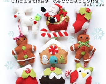 Christmas decorations set one PDF pattern, sew your own, diy, felt sewing pattern, owl, reindeer, sabta, sleigh, stocking, gingerbread, tree