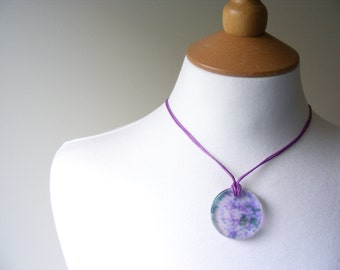 Lavender Circle Pendant Necklace, Lilac Flower Pattern Perspex Plastic Pendant on Lilac Cord