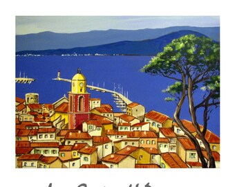 SAINT-TROPEZ, French Riviera, the Bay Travel Poster France Mediterranean, Original Illustration Artist Print Wall Art,,Free shipping in USA.