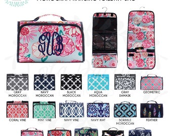 Hanging Toiletry Bag with Monogram/cosmetic bag/vacation necessity bag