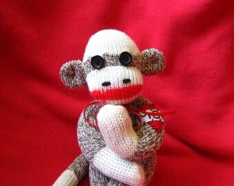 Miniature Sock Monkey - Heart Mom Tattoo  Rockford Red Heel - Mini Stuffed Animal Toy Plush Doll
