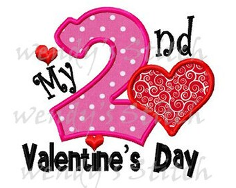 2nd Valentine's day applique machine embroidery design instant download