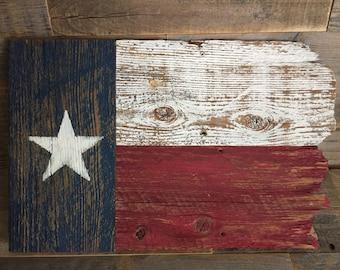 Rustic, reclaimed wood Texas flag wall hanging