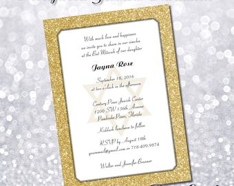 Printed glitter party invitation. Custom 5x7 printed invites with envelopes. Bat Mitzvah, Sweet 16, Hollywood Party.