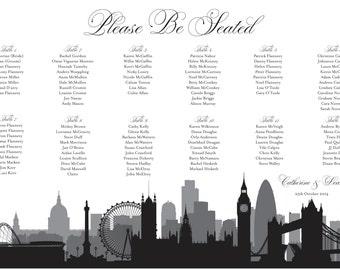 London Seating Plan Chart Digital Design Printable PDF Plan Custom Personal Poster Print File ONLY