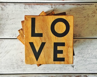 Rustic Coasters - Reclaimed Wood Coasters - Wooden Coasters - Farmhouse Decor - Drink Coasters - Custom Coasters - Wood Coaster - LOVE Sign