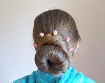 Rose bud hairpins