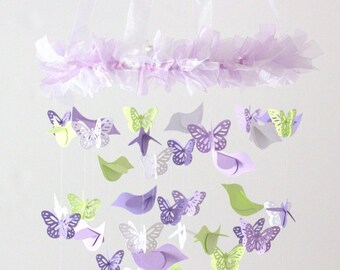 Lavender Green Nursery Mobile- Birds and Butterflies for Baby Girl Nursery Mobile Room Decor