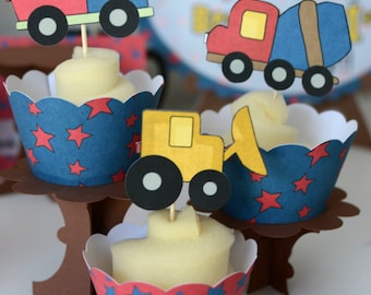 Construction Birthday Party CUPCAKE TOPPERS & Wrappers, Dump Truck Birthday Decorations