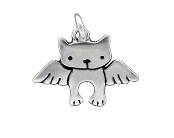 Tiny Angel Kitty Necklace - Sterling Silver Angel Cat Necklace - Cat with Wings - Cat Memorial