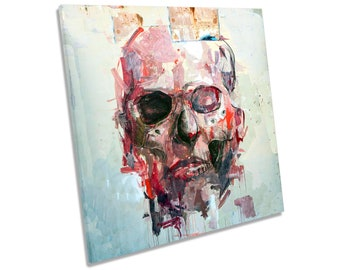 Skull Abstract Grunge Picture CANVAS WALL ART Square Print