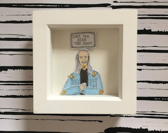Twin Peaks Bob, twin peaks gift, perfect for Lynch fans, framed bob doll with quote comes signed and wrapped ready for gifting