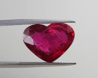 8.45 Cts. Beautiful Natural Rubellite Tourmaline Deep Pinkish Red Heart Faceted Shape loose gemstone pendant use VIDEO link below