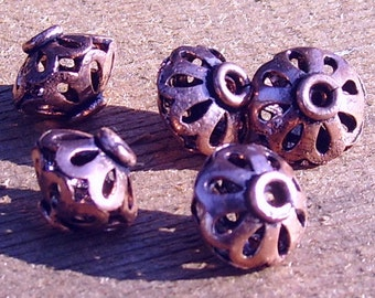 Solid Copper Bead; 10x13 mm, filigree, 5 per package