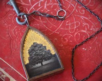 ON RESERVE Tree of Life. Neckpiece jewelry. Original Mixed Media. Wearable Art. Handmade Necklace. REPOSE by Mikel Robinson