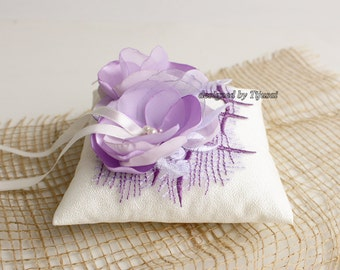 Wedding ring bearer pillow with small lilac flowers-ring bearer, ring holder, ready to ship