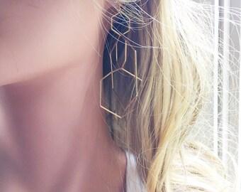 Complicated Long Geometric Earring // Gold Linked Hexagon Dangle Earrings