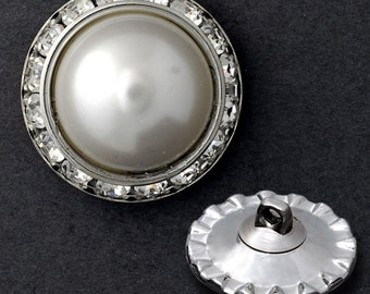 25mm Rhinestone Pearl Button with Shank by each, Crystal/Pearl/Silver,  T1336A